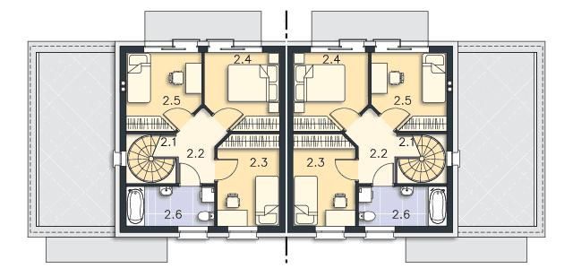 Rzut kondygnacji Piętro - projekt Rugby III