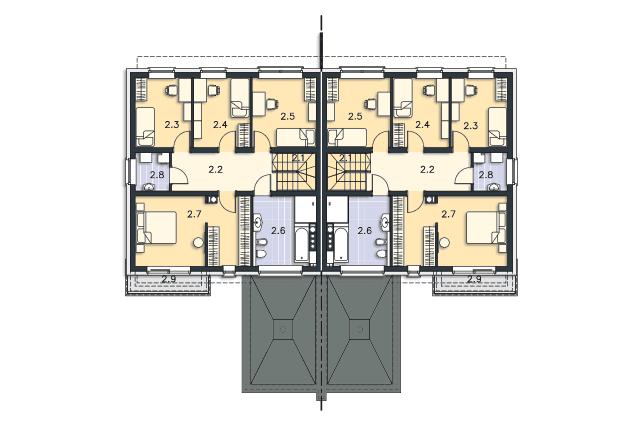 Zobacz powiększenie rzutu kondygnacji Piętro - projekt Przychylny w.II