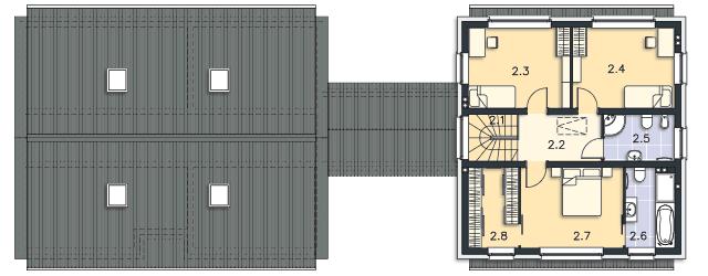 Rzut kondygnacji Piętro - projekt Odense