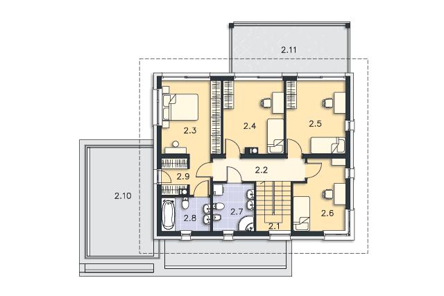 Zobacz powiększenie rzutu kondygnacji Piętro - projekt Carrara IV
