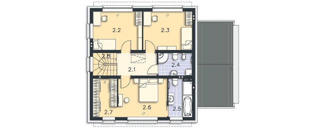 Rzut kondygnacji Piętro - projekt Skagen