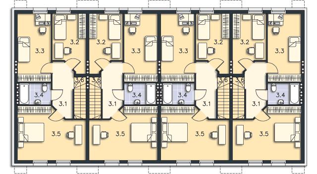 Rzut kondygnacji Poddasze (mieszkanie 2) - projekt Belfort