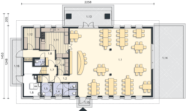 Rzut kondygnacji Parter - projekt Budynek usługowy Orzeł II