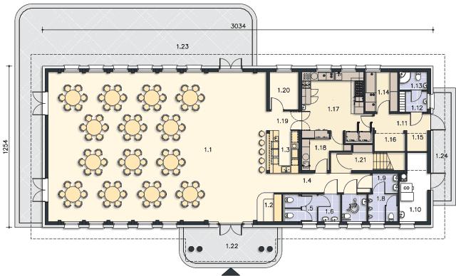 Rzut kondygnacji Parter - projekt Budynek usługowy Puchacz