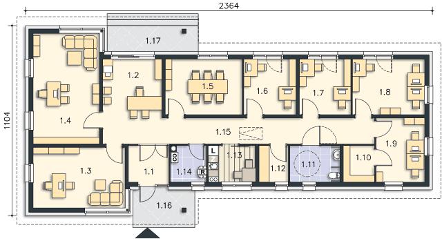 Rzut kondygnacji Parter - projekt Budynek usługowy Office 1