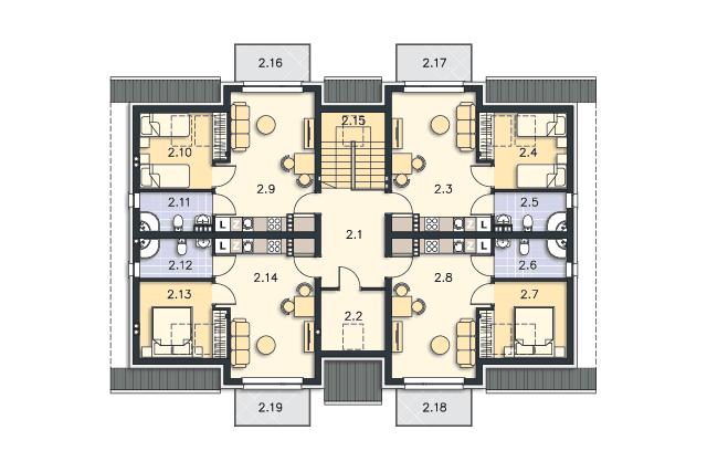 Zobacz powiększenie rzutu kondygnacji Poddasze - projekt Budynek agroturystyczny Dąb 3