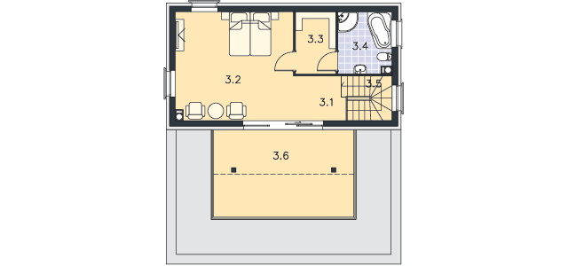 Rzut kondygnacji Piętro II - projekt Santorini